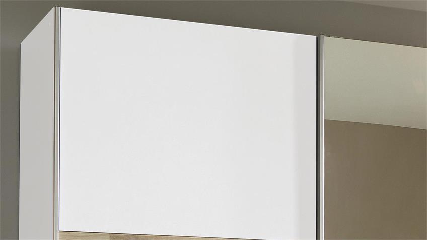 Schwebetürenschrank KUTA weiß Eiche Spiegel 175 cm