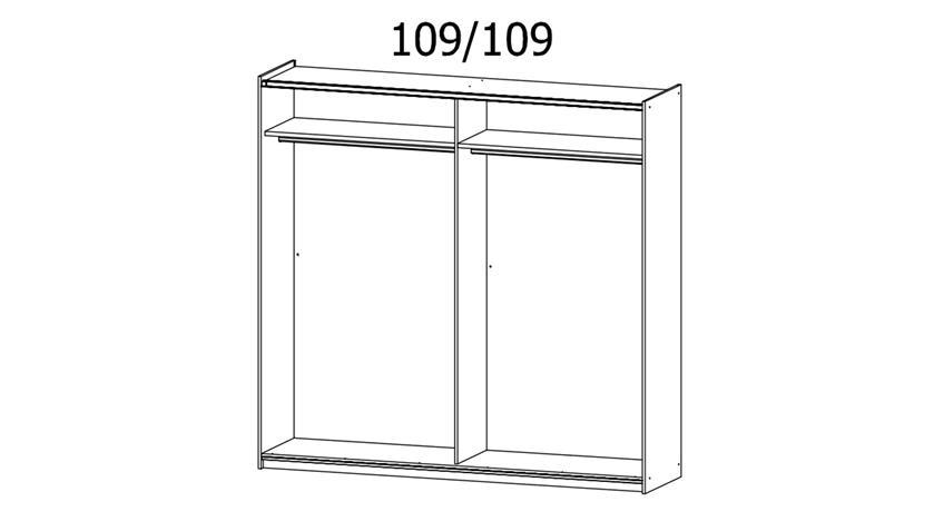Schwebetürenschrank KUTA weiß Eiche Spiegel 218 cm