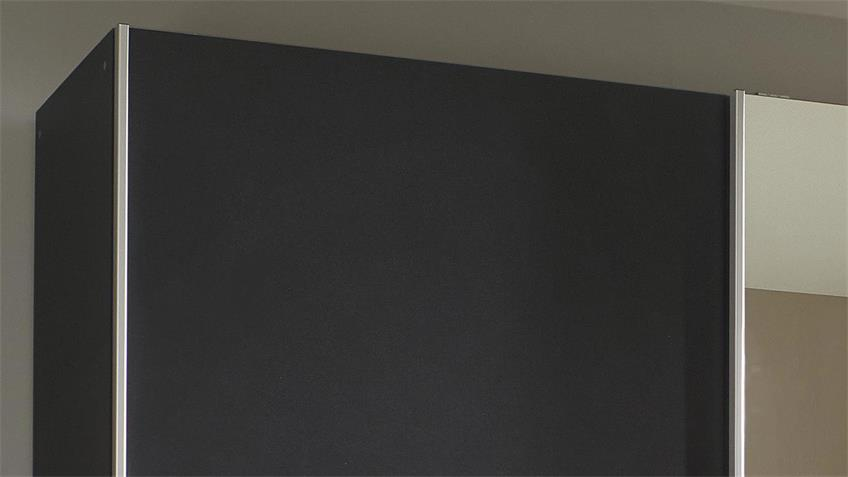 Schwebetürenschrank KUTA grau Eiche Spiegel 175 cm