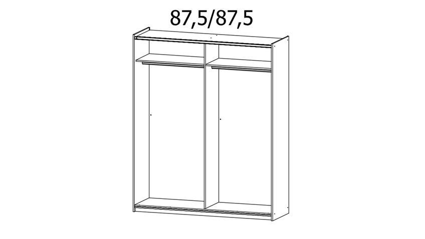 Schwebetürenschrank KUTA weiß Fichte Spiegel 175 cm
