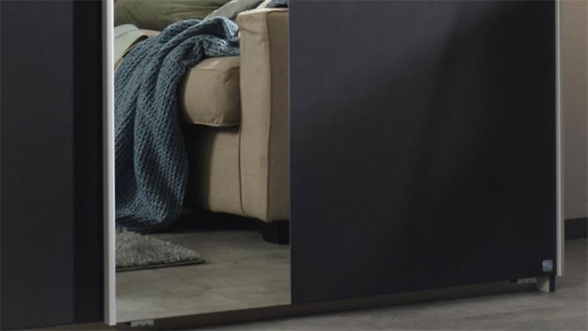 Schwebetürenschrank KUTA grau Fichte Spiegel 218 cm