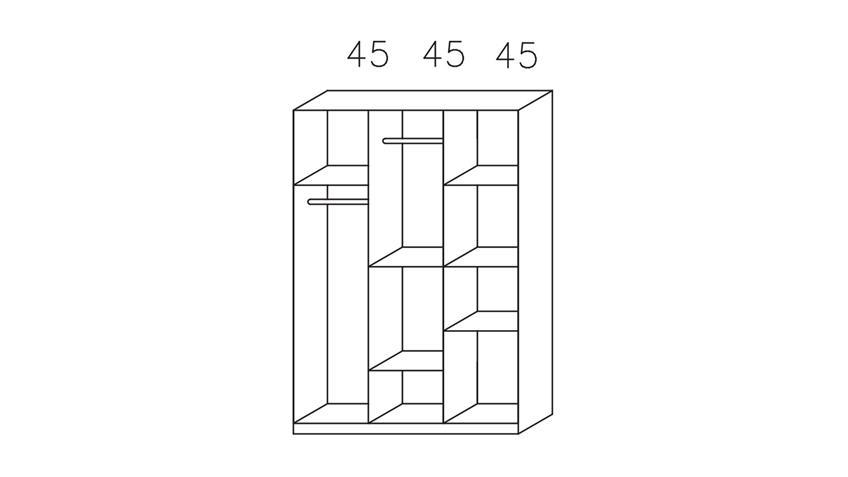Kleiderschrank LANDSBERG 4-trg. weiß Eiche Sonoma 136 cm