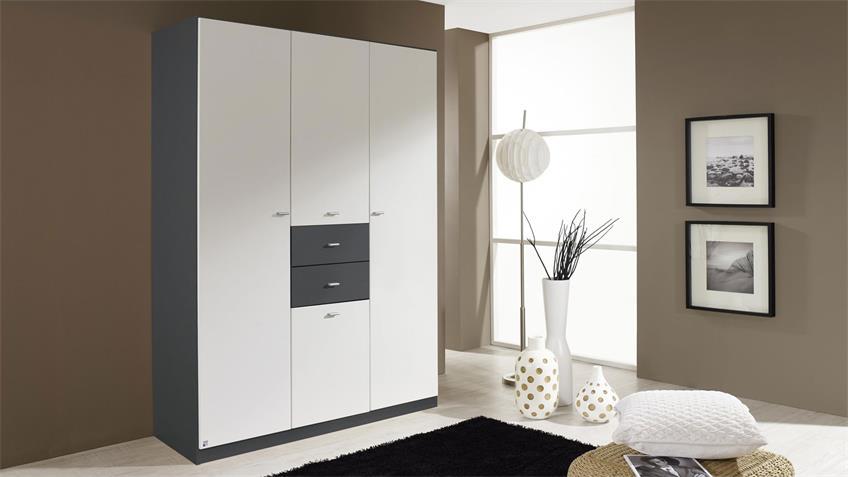 Kleiderschrank LANDSBERG 4-trg. weiß grau-metallic 136 cm