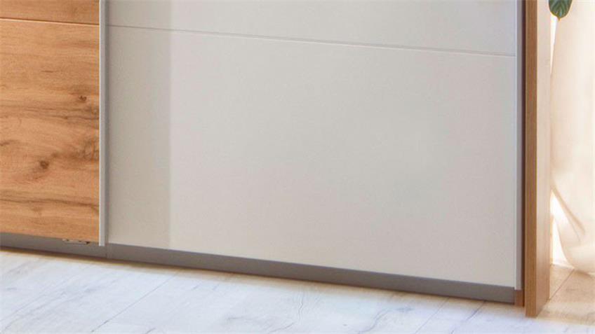 Schwebetürenschrank KULMBACH 3-trg. weiß Eiche 271 cm