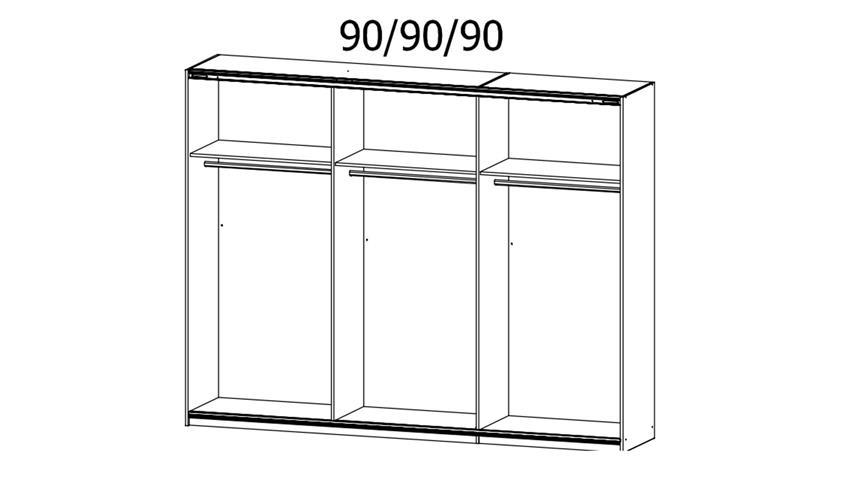 Schwebetürenschrank KULMBACH 3-trg. Eiche Spiegel 271 cm