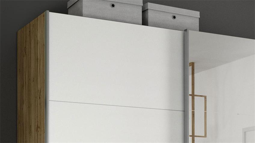 Schwebetürenschrank KULMBACH weiß Eiche Spiegel 271 cm