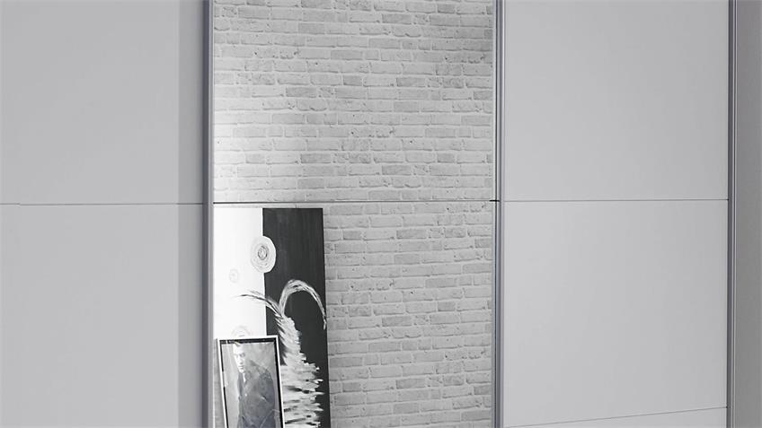 Schwebetürenschrank KULMBACH 3-trg. grau Spiegel 203 cm