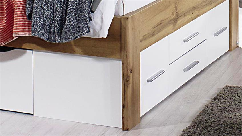 Bett SCALA Eiche Wotan weiß Bettschubkästen 140x200 cm