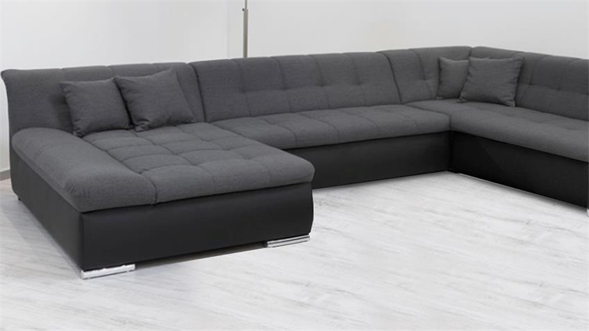 Wohnlandschaft Alabama Sofa schwarz grau mit Funktion
