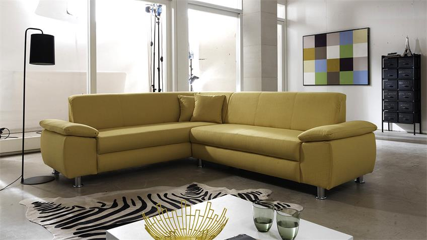Wohnlandschaft MEXICO Ecksofa Sofa in gelb