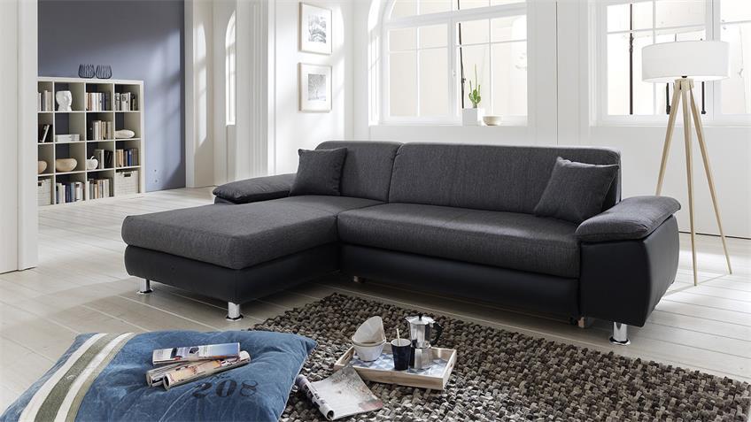 Wohnlandschaft MEXICO Ecksofa Sofa in grau und schwarz