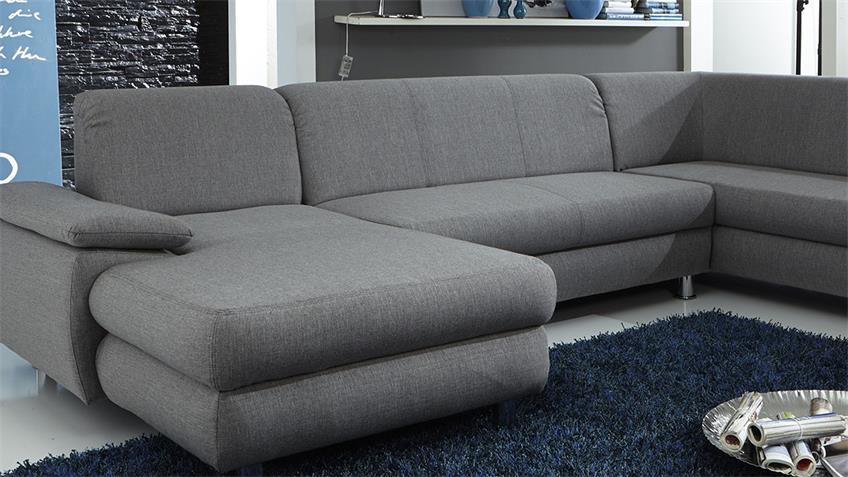 Wohnlandschaft MEXICO Ecksofa Sofa in grau