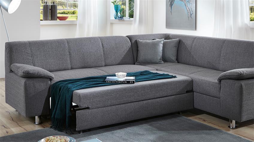 Ecksofa ALAMO Wohnlandschaft Sofa in grau mit Bettfunktion