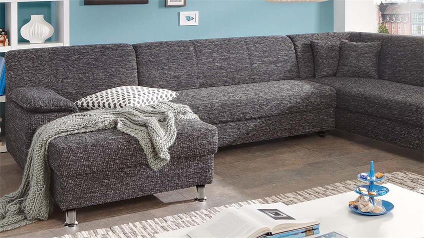 Wohnlandschaft ALAMO Ecksofa Sofa in grau mit Kissen
