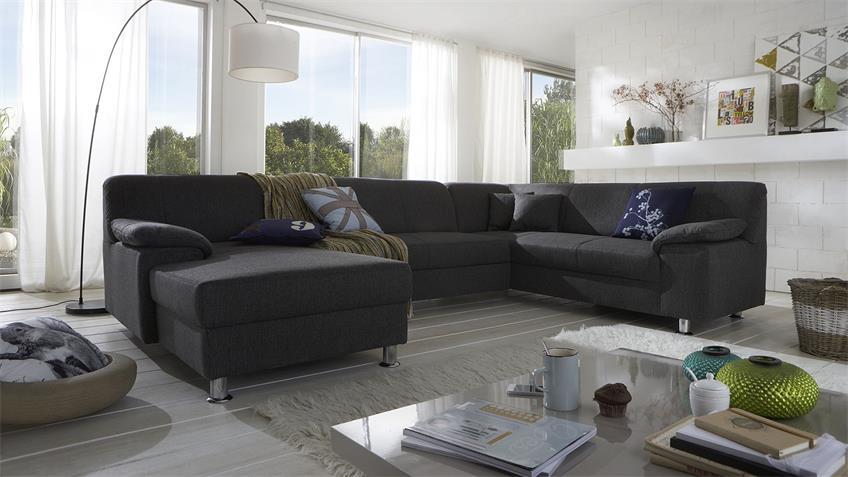 Wohnlandschaft ALAMO Ecksofa Sofa in anthrazit mit Kissen