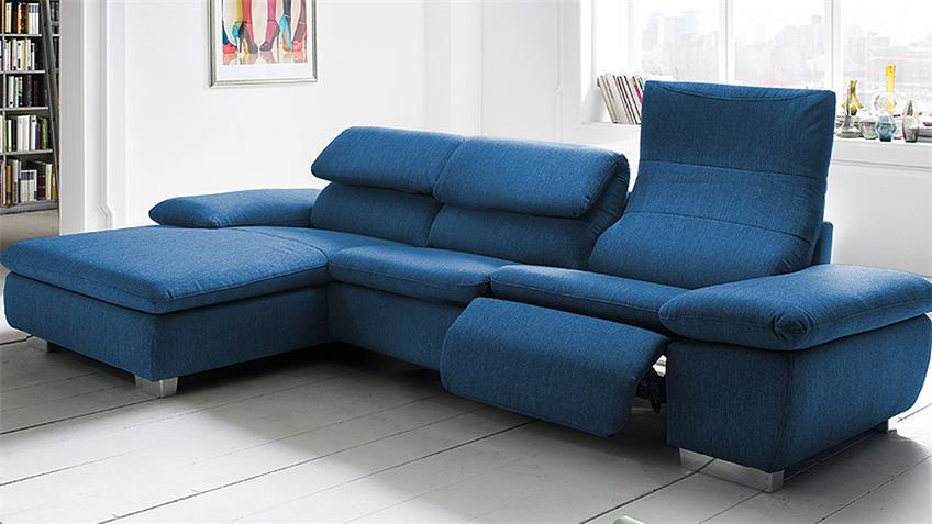 Ecksofa TEXAS Wohnlandschaft Sofa in blau mit Relaxfunktion