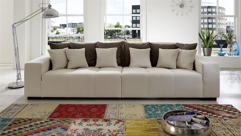 Bigsofa ARIVOS Sofa Garnitur in beige und braun inkl. Kissen