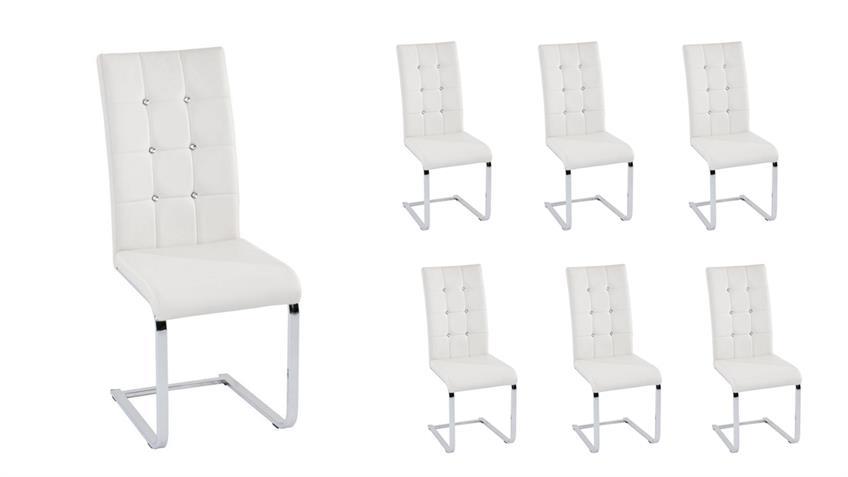 Stuhl TIFFANY in weiß Chrom und Diamant Applikation 6er Set