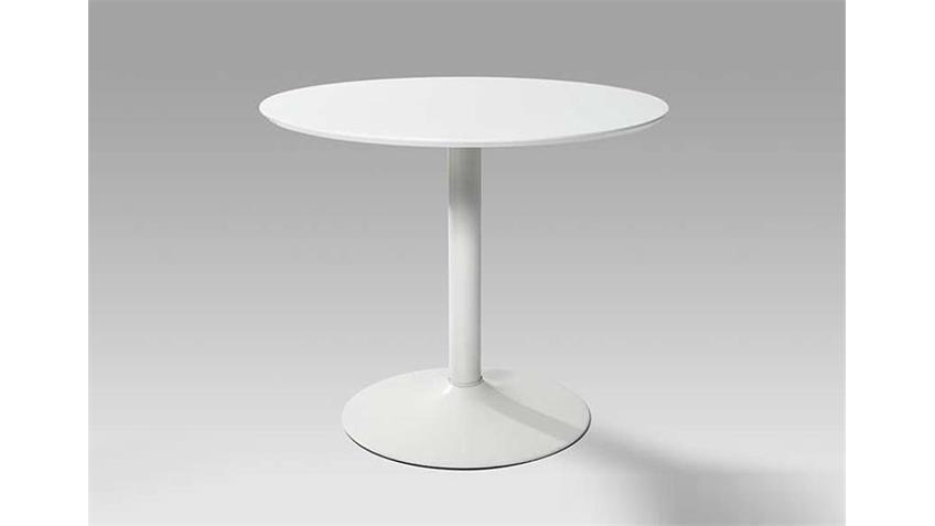 SEMI Esstisch Weiß Hochglanz Lack - 90x76 cm