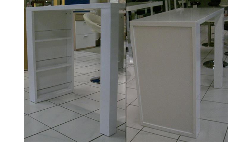 Bartisch FRIEDERIKE Stehtisch weiß Hochglanz lackiert 120x60