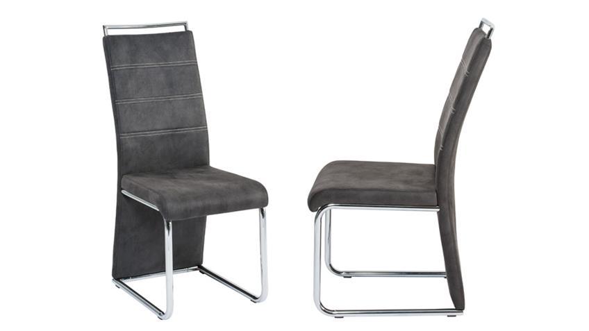 Stuhl MILANO Esszimmerstuhl in grau und chrom 4er Set