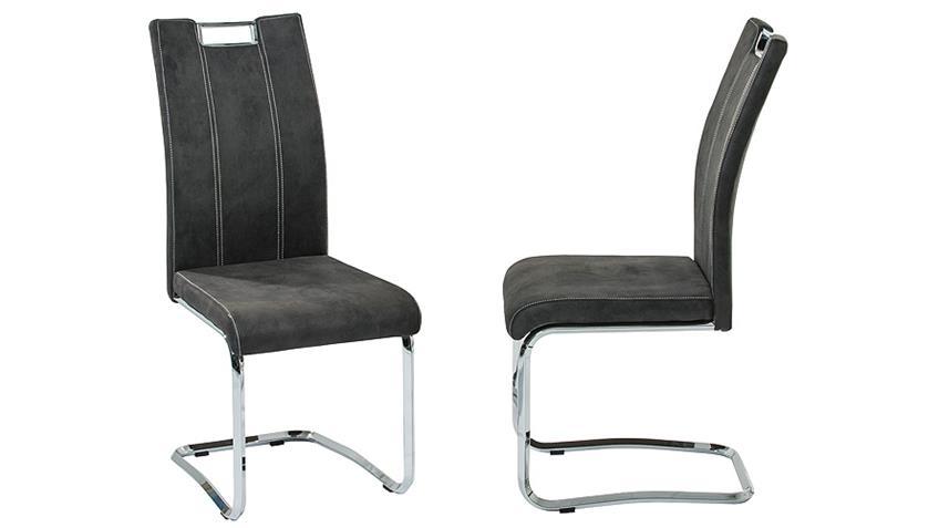 Stuhl NAPOLI Esszimmerstuhl in grau und chrom 4er Set