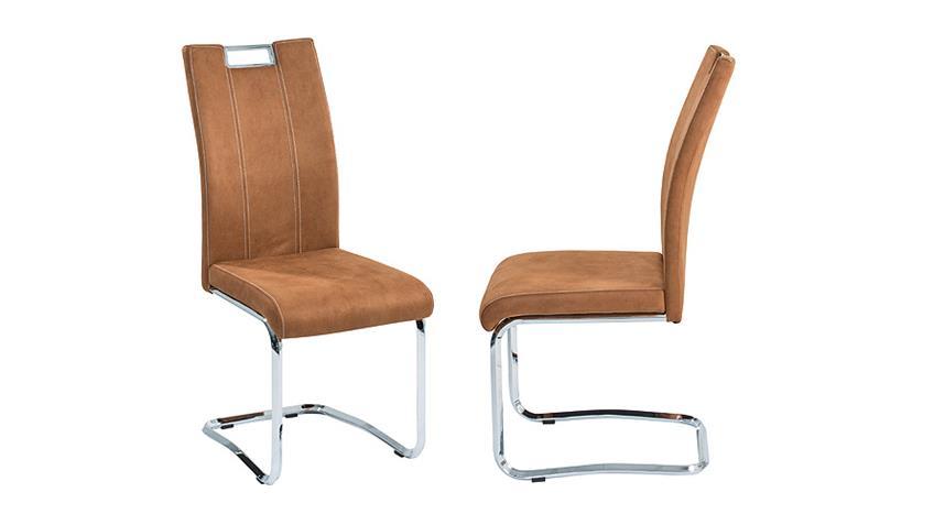 Stuhl 4er Set NAPOLI in cognac und chrom