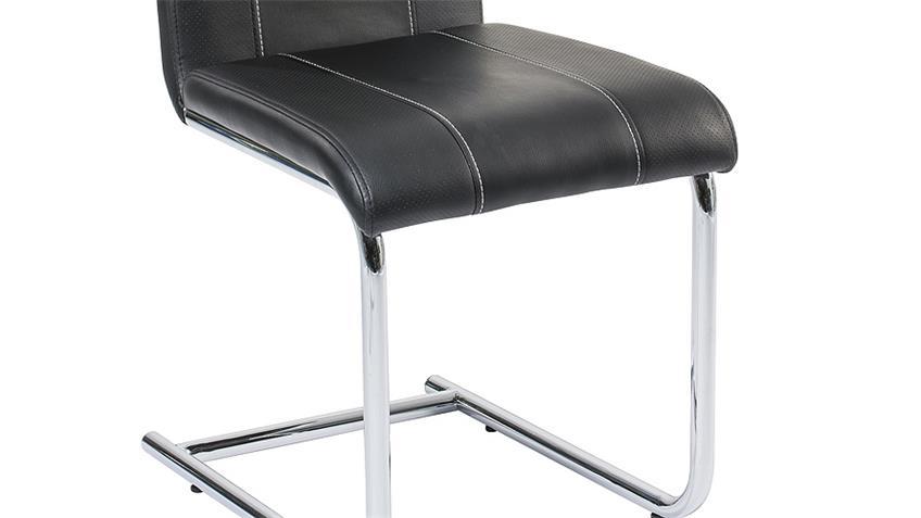 Schwingstuhl SABINE 4er Set Stuhl in schwarz und Chrom