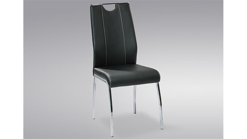 Stuhl RALF 4er Set schwarz mit Griff und Ziernähten
