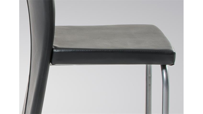 Stuhl AYLIN Esszimmerstuhl 4er Set in schwarz und silber
