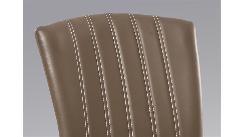 Stuhl AYLIN 4er Set cappuccino braun und silber