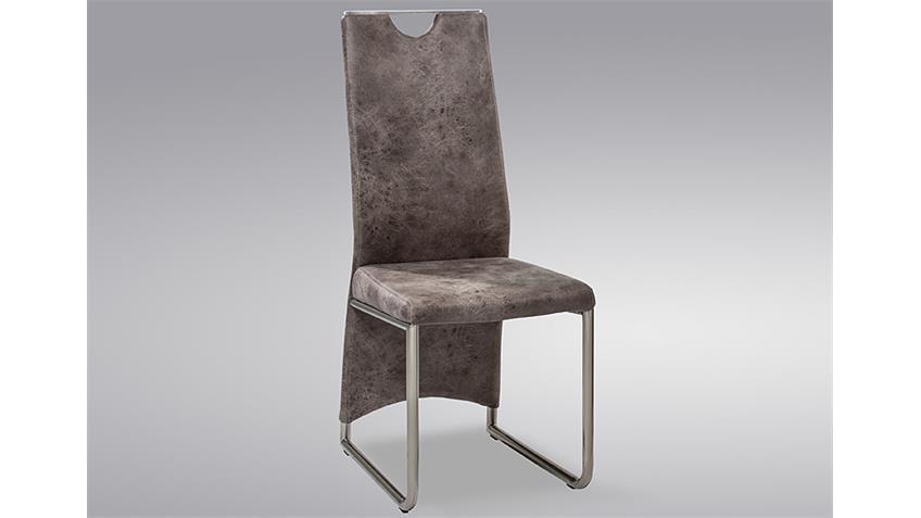 Stuhl MANU 4er Set Esszimmerstuhl in Vintage hell grau