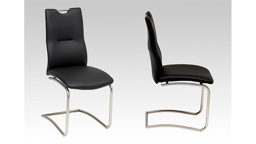 Schwingstuhl TINA 4er Set in schwarz mit Griff