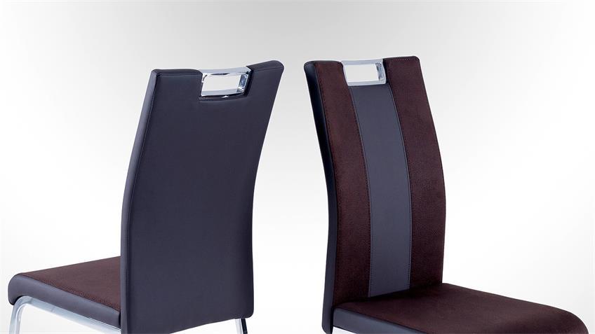 Stuhl BARI 2 im 4er Set Lederlook und Softtex Dunkelbraun