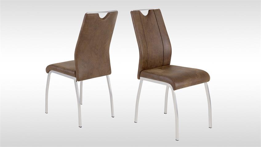 Stuhl 4er Set TRIESTE 2 Esszimmerstuhl Küchenstuhl in Vintage braun