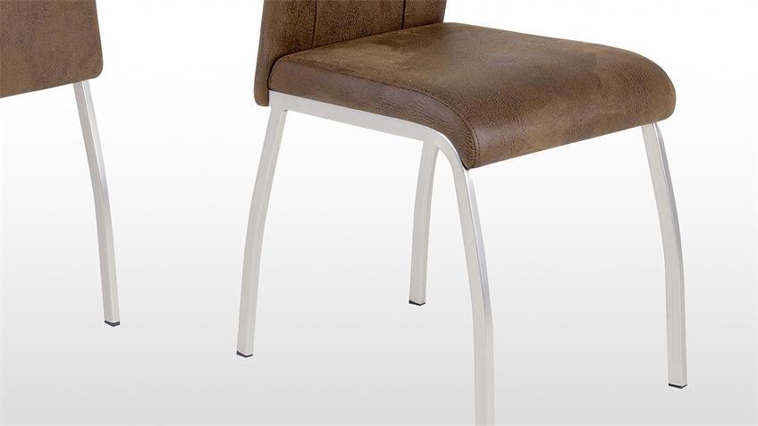 stuhl 4er set trieste 2 esszimmerstuhl k chenstuhl in vintage braun. Black Bedroom Furniture Sets. Home Design Ideas