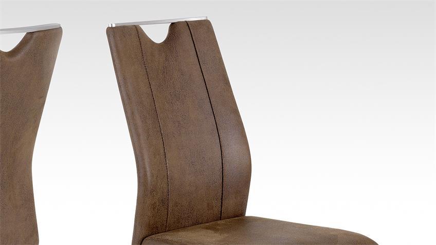 Stuhl TRIESTE 2 im 4er Set in Lederlook Vintage braun