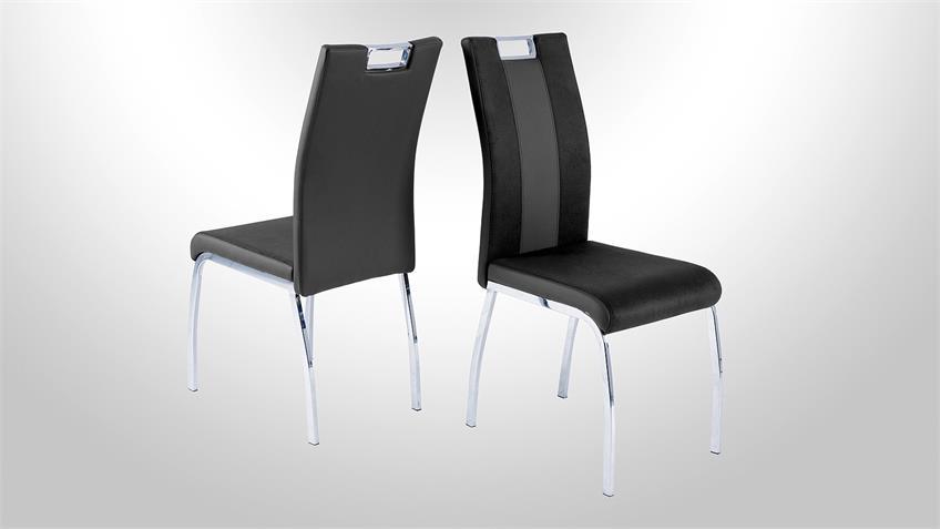 Stuhl BARI 2 im 4er Set Lederlook und Softtex Schwarz-Grau