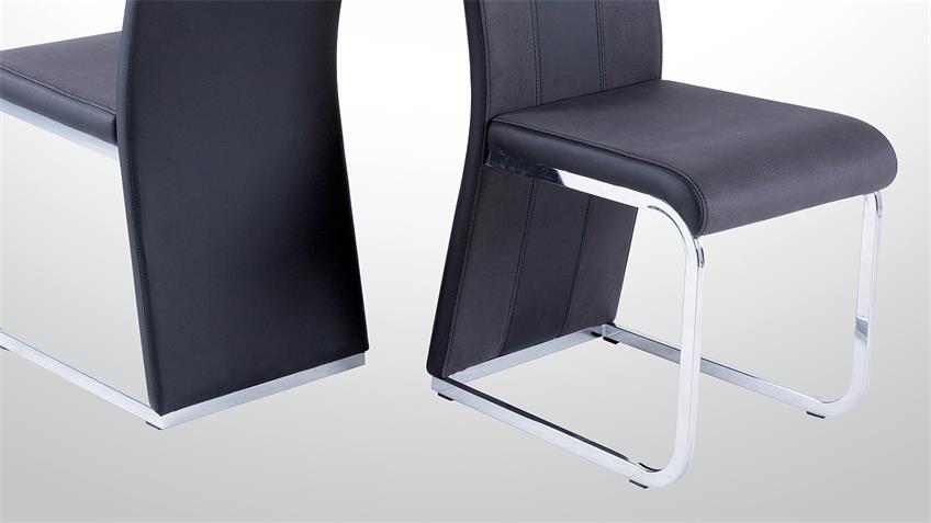 Stuhl BARI 3 im 4er Set Lederlook und Softtex Schwarz-Grau