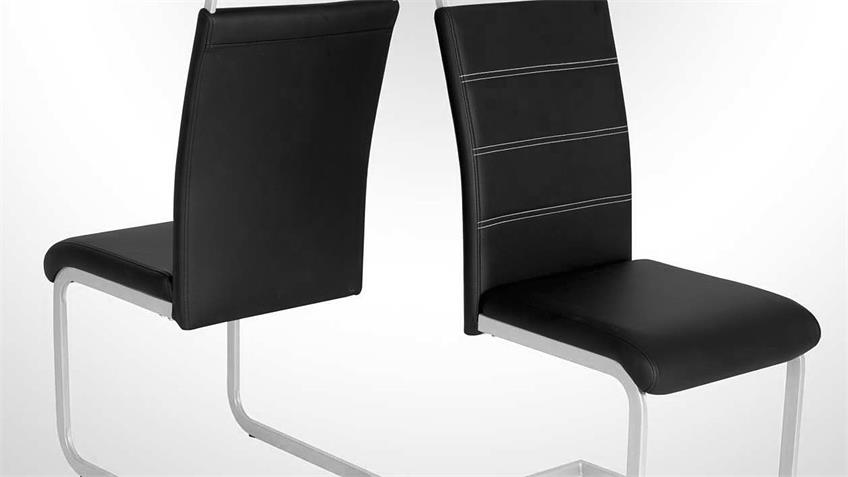 Schwingstuhl 4er Set SEBI Stuhl Esszimmerstuhl in schwarz
