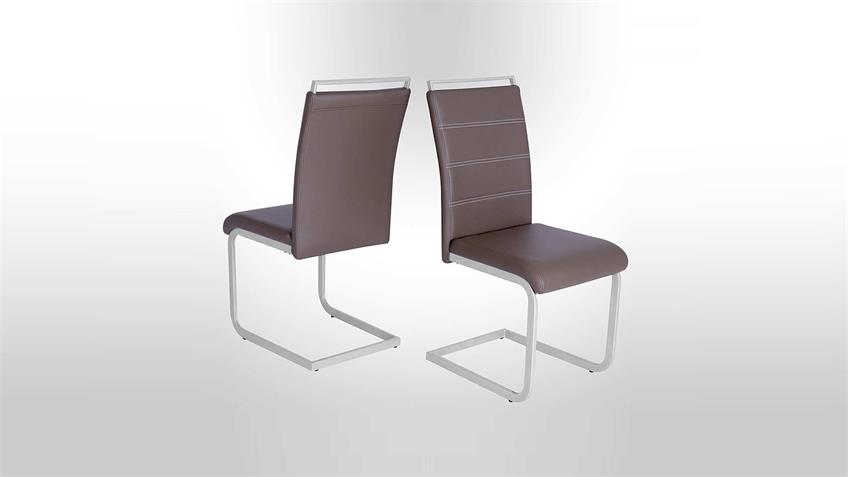 Schwingstuhl 4er Set SEBI Stuhl Esszimmerstuhl cappuccino