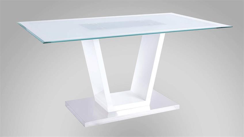 Esstisch DENNIS Tisch Esszimmertisch weiß Hochglanz 160x90