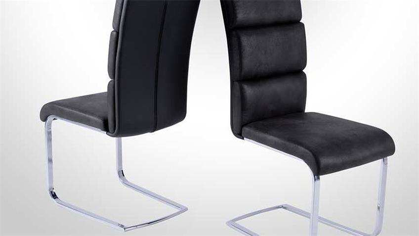 Schwingstuhl 4er Set NEW YORK Stuhl schwarz grau chrom