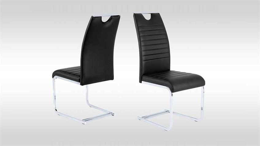 Schwingstuhl 4er Set GINA Stuhl in schwarz und chrom