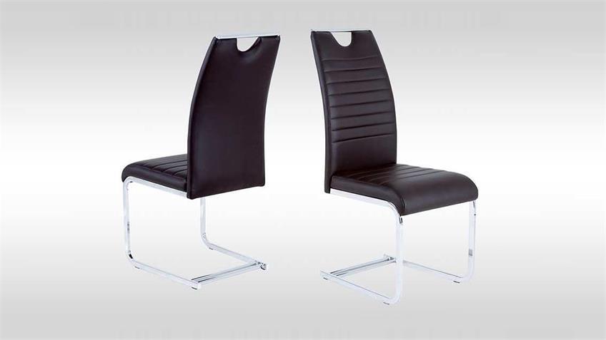 Schwingstuhl 4er Set GINA Stuhl in dunkelbraun und chrom