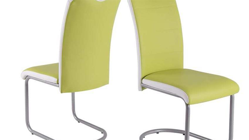 Schwingstuhl 4er Set TORBEN Stuhl in grün und weiß