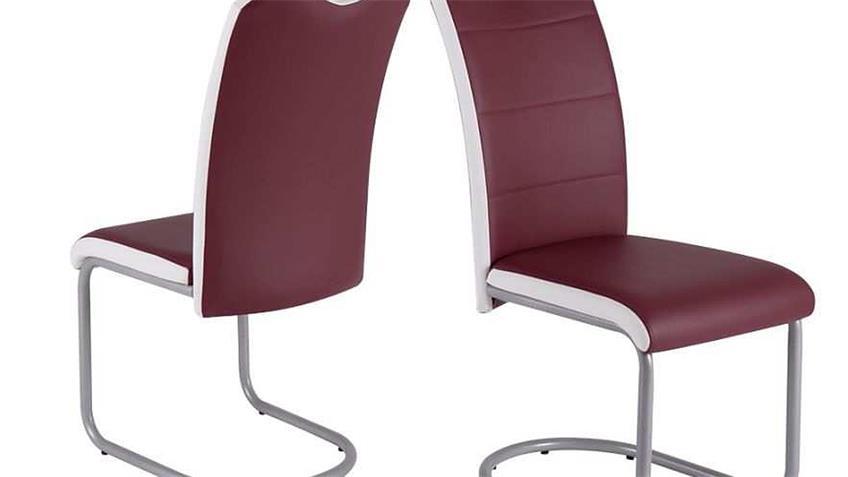 Schwingstuhl 4er Set TORBEN Stuhl in bordeaux und weiß