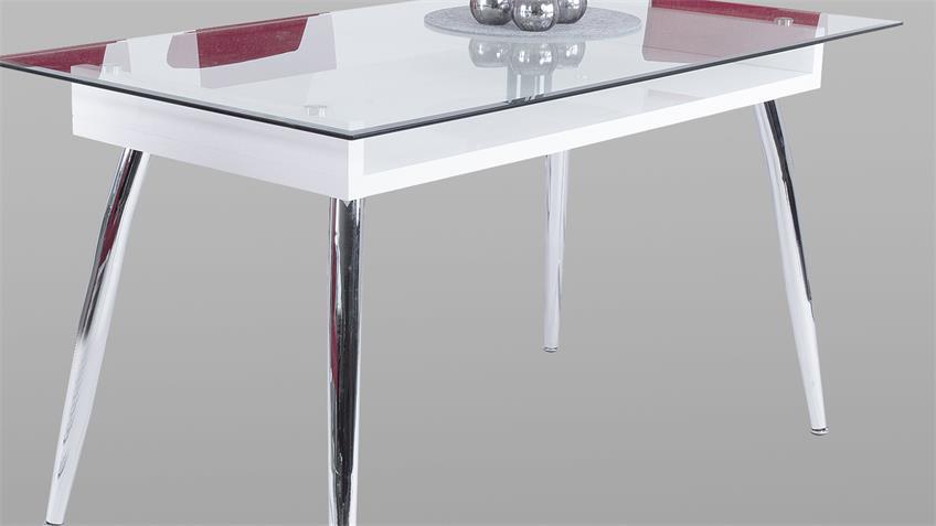 Esstisch RICKY Tisch Esszimmertisch weiß Hochglanz Glas
