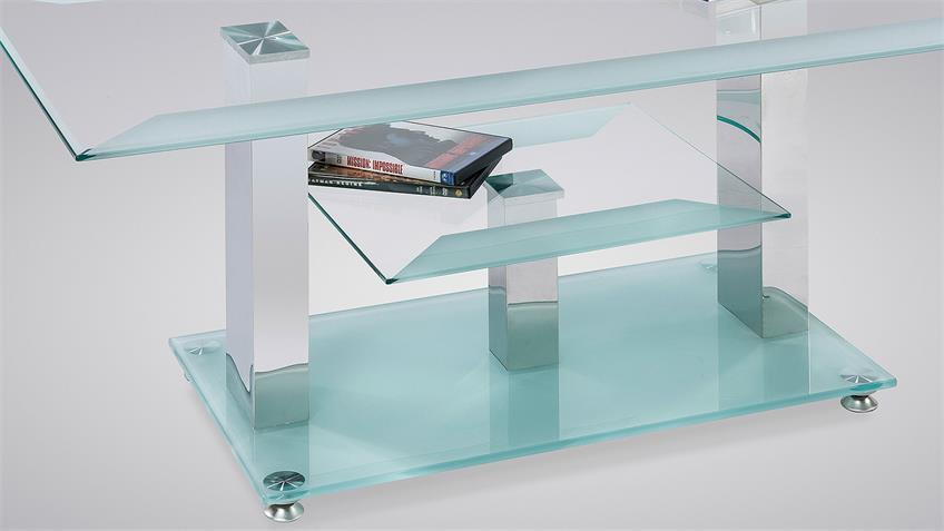 Couchtisch THERESA Beistelltisch Tisch Glas satiniert 110 cm
