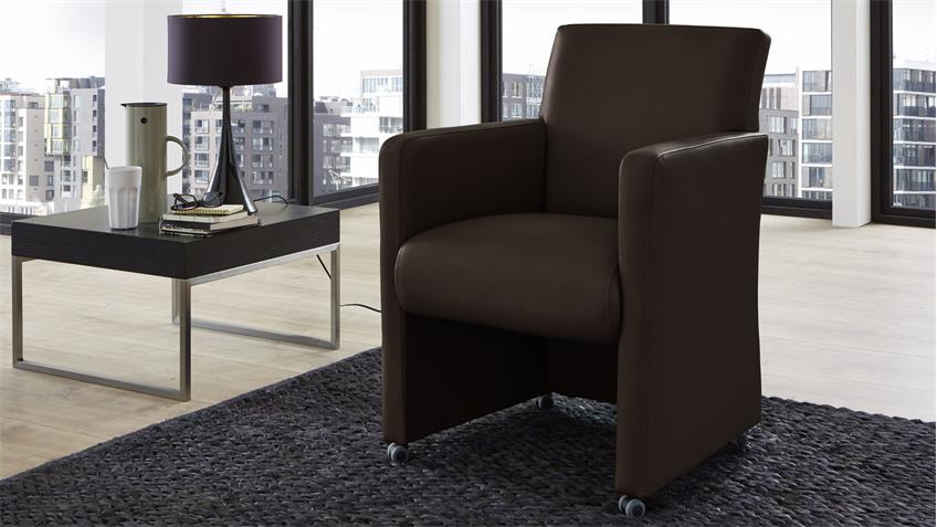 Sessel TODDY Loungesessel Clubsessel Lederlook in braun